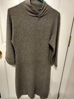 CULLEN Sz MED Gray 100% Cashmere Mock Neck Sweater Dress