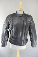 CLASSIC AKITO BLACK LEATHER BIKER JACKET + REMOVABLE CE BODYGUARD ARMOUR SIZE 12
