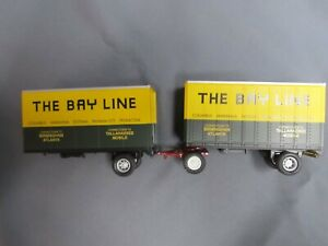 "MTH piggy back trailers.  ""The Bay Line""  Intermodel   1/43rd scale"