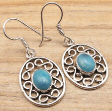 Gift Idea ! 925 Silver Plated Simulated Larimar Retro Style Exciting Earrings