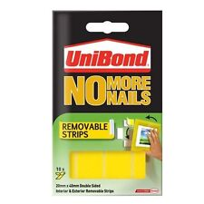 Unibond No More Nails - Removable Wall Hanging Strips YELLOW Removeable