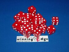 NEW 18 RED DICE WITH WHITE PIPS 16MM BUNCO MONOPOLY YAHTZEE FREE SHIPPING