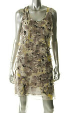 Andrea Behar ~ Taupe Floral Silk Chiffon Tiered Shift Party Dress 8 NEW $128