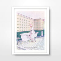 BATHROOM ILLUSTRATION ART PRINT POSTER Room Home Decor Wall Picture A4 A3 A2