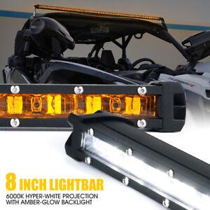 """White 8"""" LED Offroad Driving Work Lights Bar UTV Upper Backlight Lights 30W"""