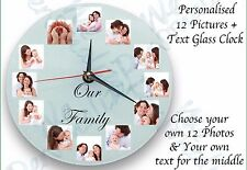 Personalised wall glass clock with12 photos/ text  all occasion gift birthday