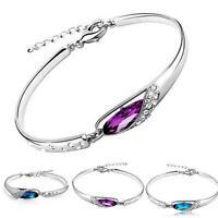 Fashion Women Silver Plated Crystal Chain Bangle Cuff Charm Bracelet Jewelry GA