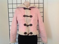 BEBE Jacket Size Small Pink Soft Faux Suede With Faux Fur Inside, Hood, Gorgeous