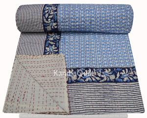 Cotton Vintage Bed Runner Block Print Blanket Twin Kantha Quilt Boho Bedspread