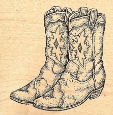 WESTERN COWBOY BOOTS Wood Mounted Rubber Stamp JUDIKINS 2265F New