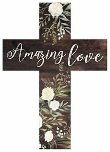 Amazing Love Rustic Floral Dark Brown 5 x 7 Solid Pine Wood Wall Hanging Cross