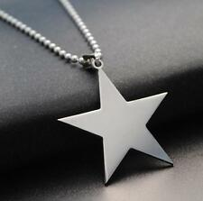 Lucky Star  Stainless Steel Army ID Dog Tag Pendant Chain Silver Vouge Necklace