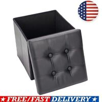 PVC Leather Folding Storage Ottoman- Faux Leather Storage Bench Footstools