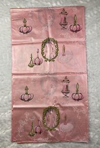 Vintage MCM Pink Vinyl Shower Curtain-Retro Pink Perfume Bottles, Powder Puffs
