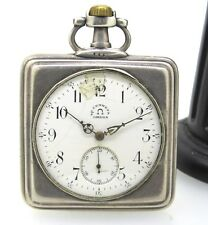 RARE Omega Vintage Approx 1900's Silver Square Pocket Watch 49 MM