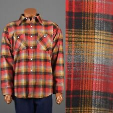 2XL XXL Vintage 1960s 60s Flannel Shirt Deadstock Shadow Plaid Tartan Lumberjack