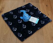 Hudson Baby Boy Plush Security Blanket ~ Blue & White ~ Whale ~ Anchors ~