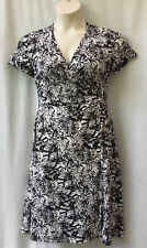 Noni B Size 12 Dress Stretch Black White Short Sleeve Work Casual Travel Dinner