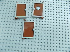 Lego 73435 Door 1 x 4 x 5 Right and left with Reddish Brown Glass lot of 3