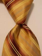 TED BAKER London Mens Silk Necktie USA Designer STRIPED Yellow/Brown/Blue EUC