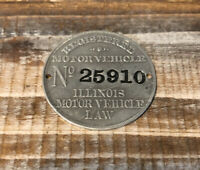 Antique Motor Vehicle Law License Plate Registration Tag State Of Illinois