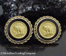 1997 1/20 5 Yuan China Panda Coin 14k Yellow Gold Rope Bezel Omega Back Earrings