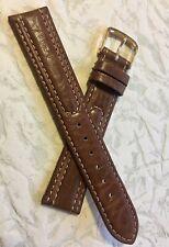 Contrast-stitched leather 18mm vintage watch strap unique texture & details NOS