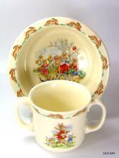 England Royal Doulton Bunnykins Fine Bone China Childs 2 Handle Cup & Dish Bowl
