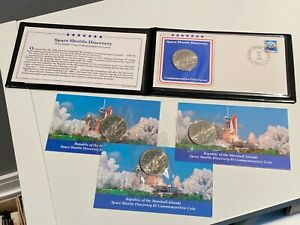 1988 Marshall Islands Space Shuttle Discovery $5 Coin Commemorative Cover + 3