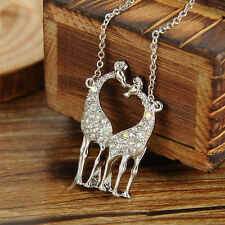 Fashion Silver Crystal Giraffe Pendant Necklace Lovers Couples Necklace For Gift