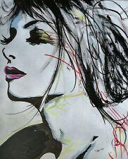Tableau moderne dessin peinture portrait signé cote ArtPrice Akoun Drouot