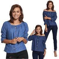 New casual Womens Denim Bardot Ruffle Sleeve Top One Size 8-14 blue&light blue