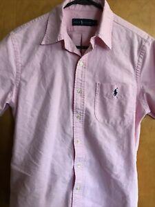 Ralph Lauren Men's S Salmon Short Sleeve Button Down Cotton Shirt
