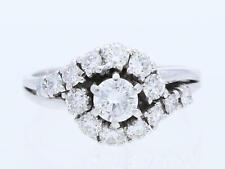 Vintage anillo 1,10 quilates brillante 585 blanco oro 14 quilates para 1970