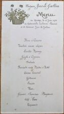 Menu French 1934 Handwritten Wedding - Haricots Verts Maitre d'Hotel, Gateaux