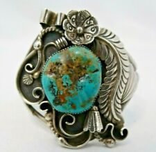 TOM AHASTEEN STERLING SILVER AND TURQUOISE  CUFF  BRACELET
