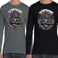 Men's Biker Long Sleeve T shirt Aces Vintage Classic Bike Motorbike Clothing 01