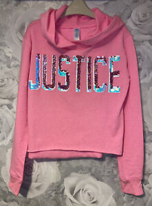 Girls Age 10 (9-10 Years) Justice USA Long Sleeved Hooded Top - Excellent Cond
