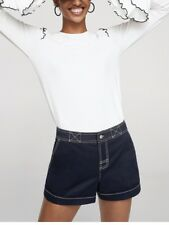 MANGO CONTRASTED SEAM SHORTS NAVY NEW SIZE 12 RRP £ 29.99