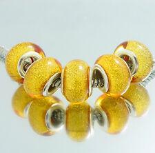 NEW 5pcs SILVER MURANO bead LAMPWORK fit European Charm Bracelet DIY V8000
