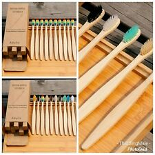 5x Natural Bamboo Toothbrush Biodegradable Ecofriendly Wood Rainbow Eco Wooden