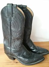 Black Leather Western Cowboy Boots Justin Boots Womens Sz 5 1/2  36 Euro L4705