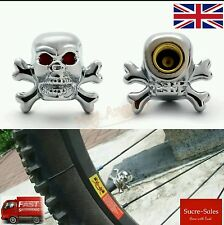 Skull Alloy Car Wheel Tire Tyre Valve Dust Caps Covers Tire Set of 2 UK