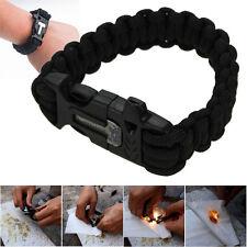 9'' Survival Paracord Bracelet w/ Flint Fire Starter Scraper Whistle Gear Kits