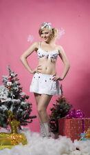 Women's Bianco Natale Fiocco Di Neve Costume Lingerie Reggiseno e Gonna