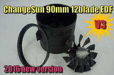 ChangeSun 90mm Ducted Fan V3 Unit 12 Blades 5.0mm Shaft EDF Unit for RC Jet