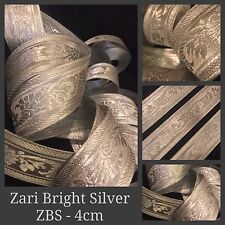 2 Yards Zari Silver Tape Ribbon Sari Blouse Border Craft Lace Curtain Trim SewOn