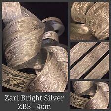 9 Yards Zari Silver Tape Ribbon Sari Blouse Border Craft Lace Curtain Trim SewOn