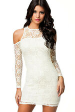Elegant Angelic White Cold Shoulder Lace Stretch Body Mini Dress Small