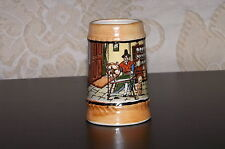 Miniature Beer Mug Stein Ceramic. Welsh Kitchen Scene. Made in Japan. Used